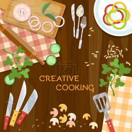 Illustration for Creative cooking kitchenware top view vector illustration - Royalty Free Image