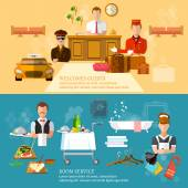 Hotel service banners hotel staff vector illustration