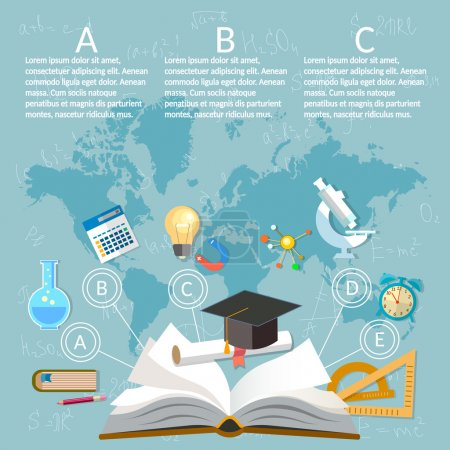 Illustration for Education infographics open book of knowledge on world map background - Royalty Free Image