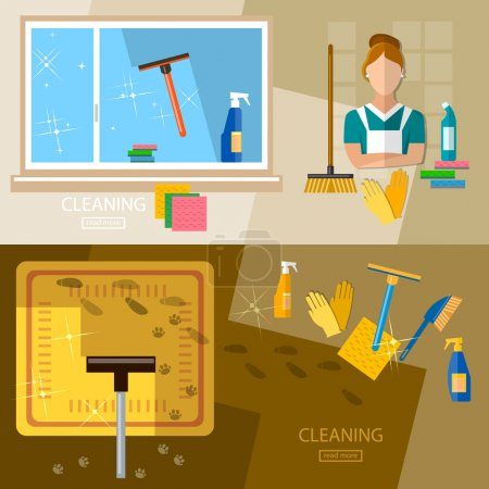 Cleaning service banners washing windows and floors vector