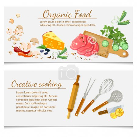 Illustration for Cooking food ingredients and kitchenware banners - Royalty Free Image