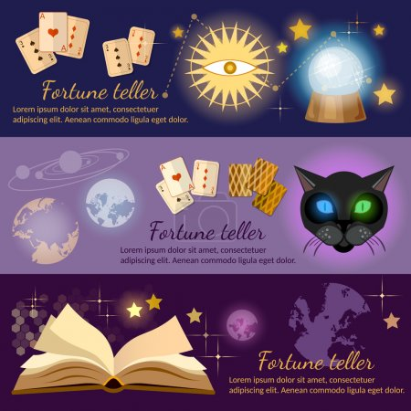 Illustration for Astrology and alchemy banners alchemy magic open book fortune telling vector illustration - Royalty Free Image