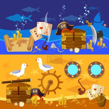 Pirate adventure banners underwater treasure