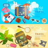 Travel banner summer adventures vector illustration