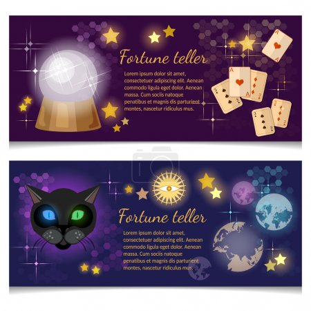 Illustration for Astrology and alchemy banners magic ball fortune telling vector illustration - Royalty Free Image