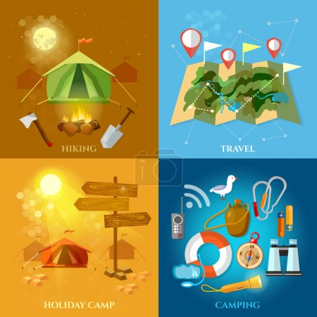 Illustration for Tourism and travel set hiking summer holidays camping backpacking vector illustration - Royalty Free Image