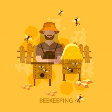 Professional beekeeper sweet organic honey bees in the apiary