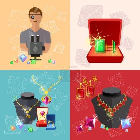 Illustration pour Bannières bijoux : joaillier au travail bijoux boucles d'oreilles pierres précieuses illustration vectorielle - image libre de droit