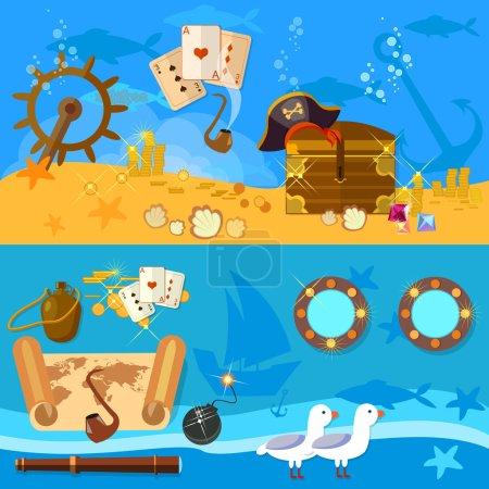 Pirate adventure banners underwater treasure chest pirate map