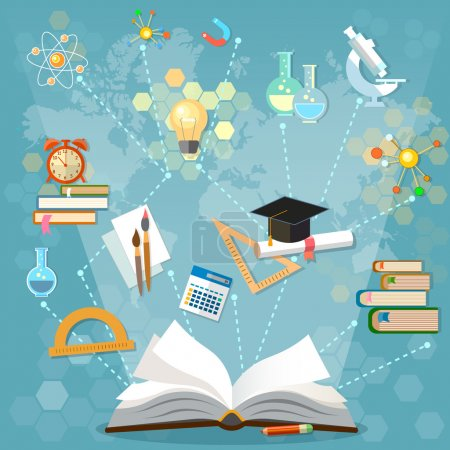 Photo for Time to education open book back to school school subjects power of knowledge vector illustration - Royalty Free Image