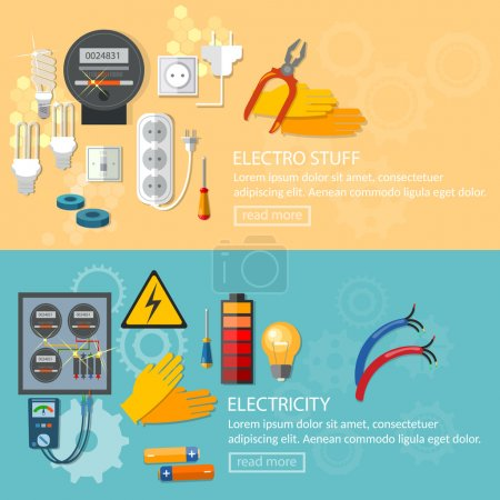 Electricity banners electrician tools