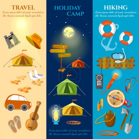Illustration for Tourism and travel banners summer holidays hiking camping backpacking vector illustration - Royalty Free Image