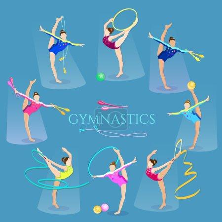 Illustration pour Gymnastique filles gymnaste artistique et rythmique gymnaste exercice illustration vectorielle - image libre de droit