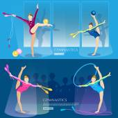 Gymnastics girls banner gymnasts artistic and rhythmic gymnast