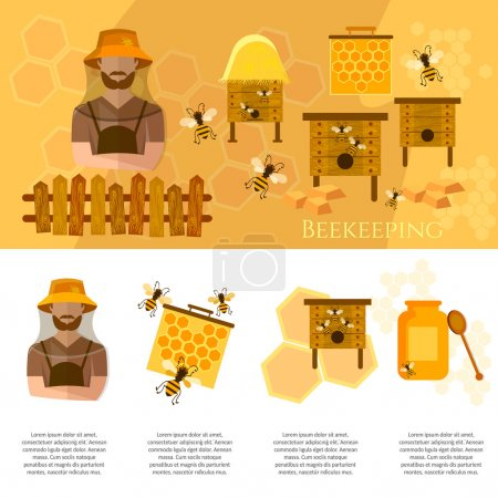 Honey and beekeeping industry infographics beekeeper on apiary