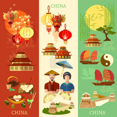 Illustration for China banner culture and traditions vector illustration - Royalty Free Image