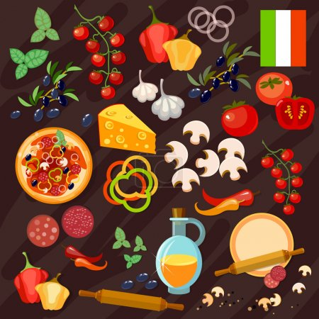 Illustration for Pizza ingredients italian pizza collection vector - Royalty Free Image