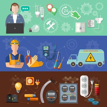 Illustration pour Bannières électriques : appeler un électricien professionnel réparation et installation de compteurs d'électricité illustration vectorielle - image libre de droit