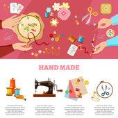 Tailor infographics seamstress fashion designer needlework