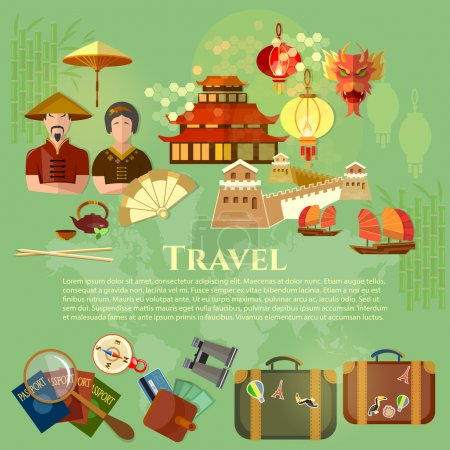 Illustration for Welcome to China chinese traditions and culture journey to Asia vector illustration - Royalty Free Image