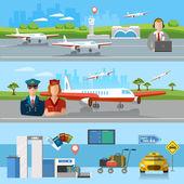 Airport banner airport terminal aircraft runway airline pilot