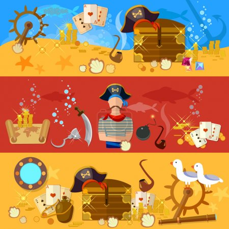 Pirate adventure banners underwater treasure pirate chest