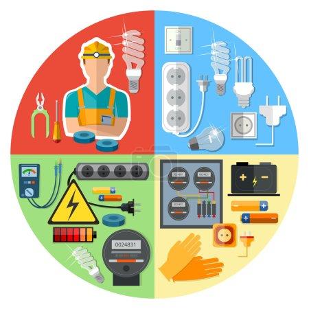 Illustration pour Electricien professionnel avec illustration vectorielle des outils électriques - image libre de droit