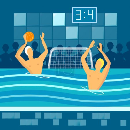 Water polo player in swimming pool sports games