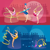 Gymnastics banner rhythmic gymnastics girls sports