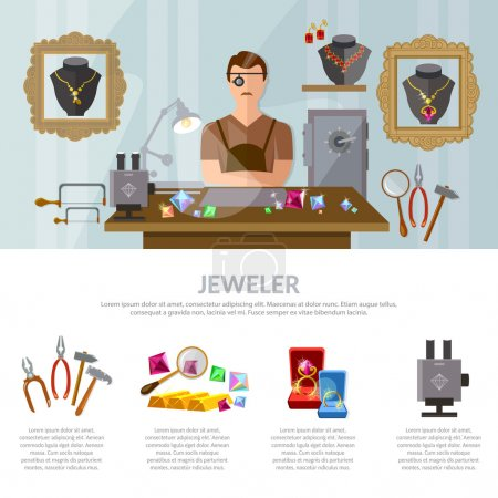 Jewelry infographics earrings rings gems jeweler at work