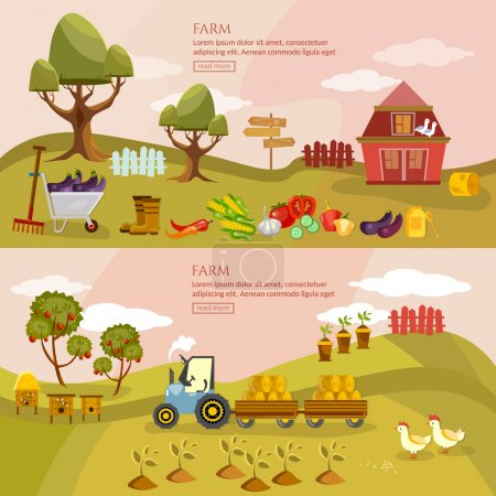 Farm agriculture landscape banner farmer products