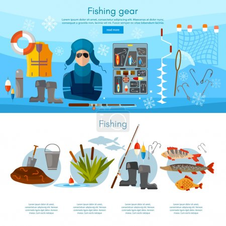 Winter fishing infographics fishing rod