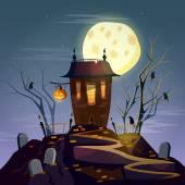 Halloween background ghost house cartoon vector