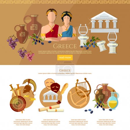 Illustration for Ancient Greece and Ancient Rome infographics tradition and culture vector illustration - Royalty Free Image