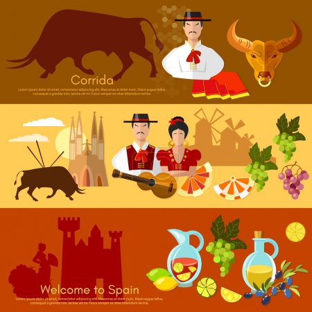 Spain banner traditions and culture spanish attractions people