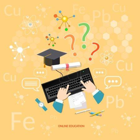 Illustration pour Enseignement à distance en ligne éducation apprendre chimie leçon étudiants informatique chimique des éléments vectoriels concept - image libre de droit