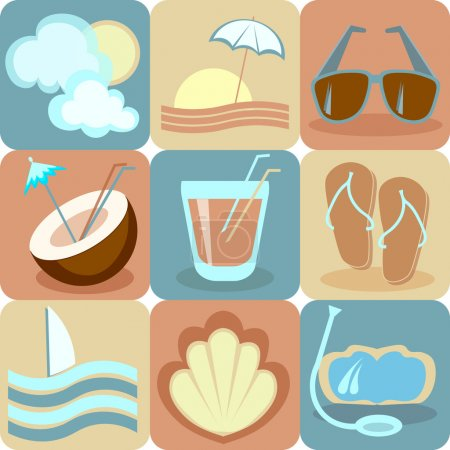 Beach vacation, collection of icons