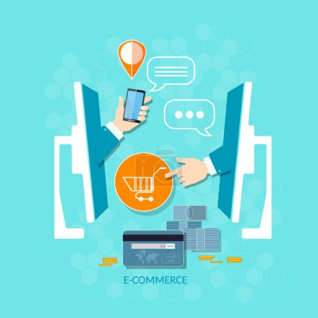 Illustration pour E-commerce achats en ligne achats mobiles paiement commande boutique en ligne livraison et commande de produits concept vectoriel - image libre de droit