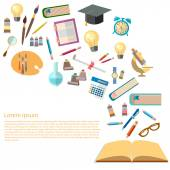 Open books and icons of education