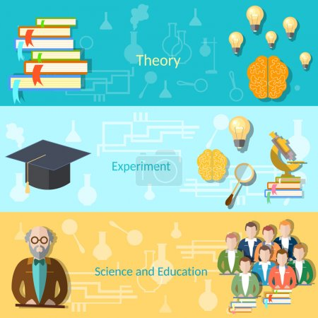 Illustration for Science and education college students university examination power mind professor, study lessons, learning vector banners - Royalty Free Image