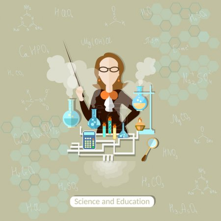 Photo for Science and Education chemistry teacher, lessons, woman, school, university, college, science experiment, research, training, vector illustration - Royalty Free Image