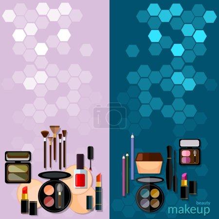 Illustration pour Bannières vectorielles de concept de mode de maquillage - image libre de droit