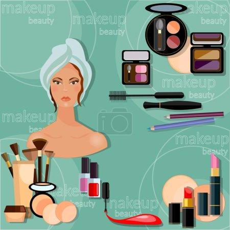 Illustration pour Maquillage belle femme visage proffésional maquillage collection cosmétique cosmétologie vernis à ongles ombre à paupières lèvres liner rouge à lèvres mode relooking vectoriel illustration - image libre de droit