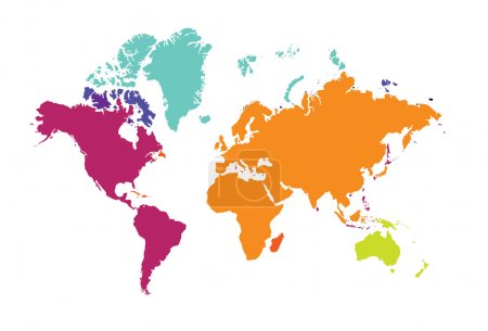 Illustration for World map of the world continents Europe Australia America color vector illustration - Royalty Free Image