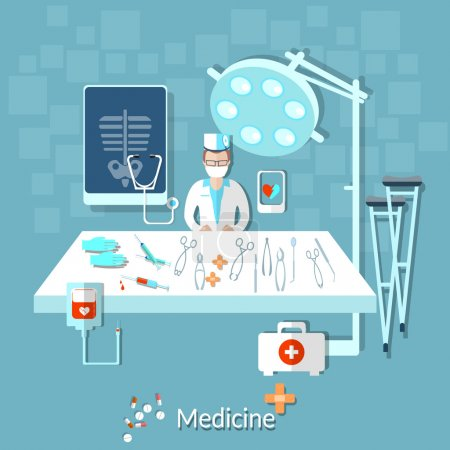 Illustration for Health doctor in the operating room, medical instruments, medical treatment, crutches, pills, drugs, vector illustration - Royalty Free Image