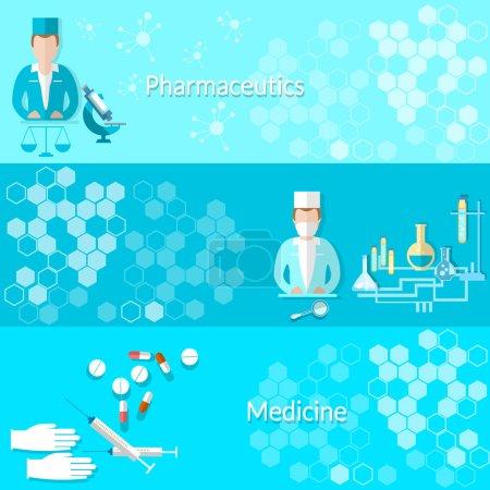 Medicine and pharmaceuticals: pills, doctors