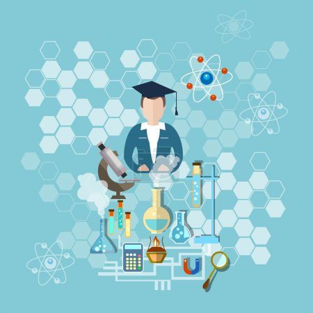 Illustration for Science and education: a scientist, teacher research microscope, test tubes, chemistry, physics, medicine, experiment, school, study, vector illustration - Royalty Free Image