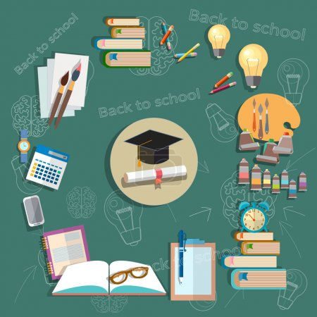 Photo for Education back to school school subjects diploma exams school board concept study college textbooks notebooks vector illustration - Royalty Free Image