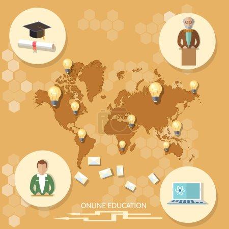 Illustration for Online education distance learning professor international student technology map world training school college university vector illustration - Royalty Free Image