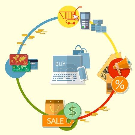 Illustration pour Internet shopping concept-store en ligne shopping e-commerce symboles et objets illustration vectorielle plane - image libre de droit